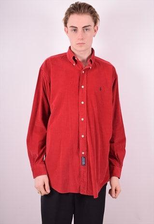 RALPH LAUREN MENS VINTAGE CORDUROY SHIRT XL RED 90S