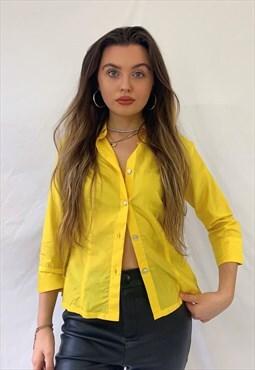 Y2K Miss Sixty Yellow Statement Silk Shirt