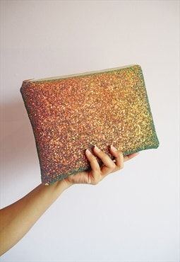 Sparkly Clutch Bag in Copper Glitter