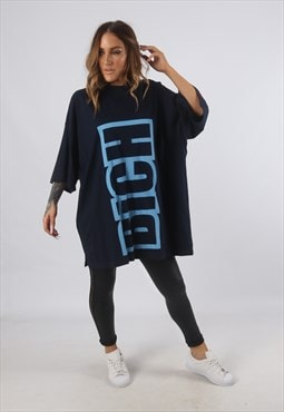 Oversized BICH Logo Print T-Shirt Long (93B)