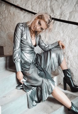 Stardust : silver metallic tie up asymmetric wrap dress