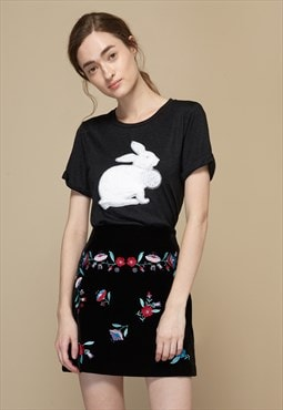 Fur Patch Rabbit T-Shirt