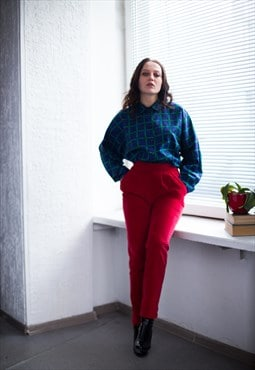 Vintage 80's Red Velvet High Waisted Trousers
