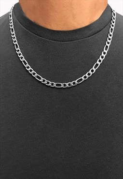 "5mm 30"" Figaro Stainless Steel Necklace Chain - Silver"