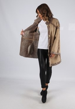 Sheepskin Shearling Suede Leather Coat Jacket UK 14 (C9ES)