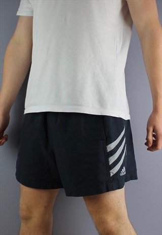 VINTAGE ADIDAS SHORTS IN NAVY WITH POCKETS, EMBROIDERED LOGO