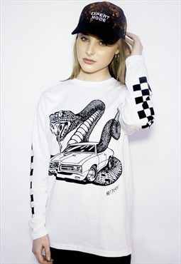 'Snakes On A Car' Long Sleeve T-Shirt with Chequered detail