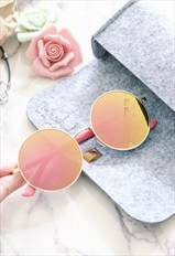 Shalex Pink Round Sunglasses