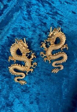 Y2K Dragon Earrings - Gold