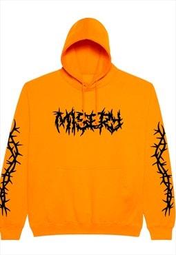 Unisex Thorns sleeve printed graphic hoodie in orange