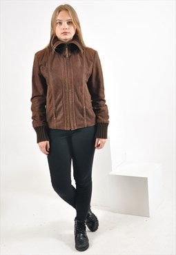 Vintage suede leather jacket in brown
