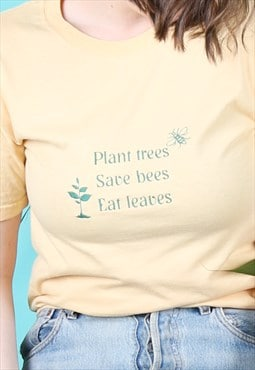 Vintage Rework Embroidery T-shirt Trees Bees Leaves Yellow
