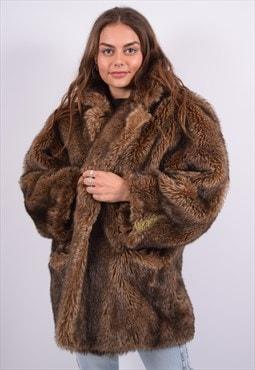 Vintage Faux Fur Coat Brown