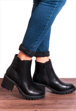 Black Faux Leather Rugged Sole Zip Up Ankle Boots