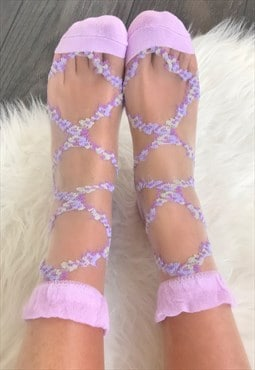 Lilac Sheer Ankle Socks