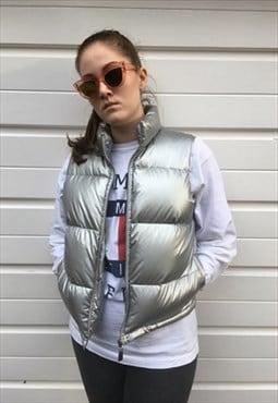 Womens Vintage 90s Ralph Lauren gilet silver holographic