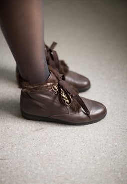 Vintage 80's Brown Leather Lace Up Ankle Boots