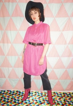Vintage 60s Pink Oversized Sheer Shirt Dress