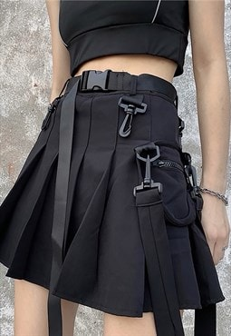 Pleated Mini Skirt with pocket and belt  in Black
