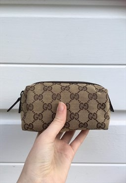 Womens Gucci pouch brown monogram makeup bag clutch purse