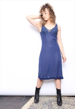 Vintage 90s Navy Lace Slip Dress