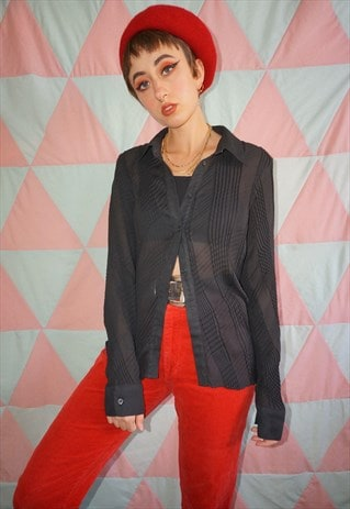 VINTAGE 90S BLACK SHEER PATTERNED LONG SLEEVE SHIRT