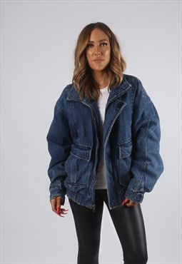 Vintage Denim Bomber Jacket Oversized UK 18 XXL (82K)