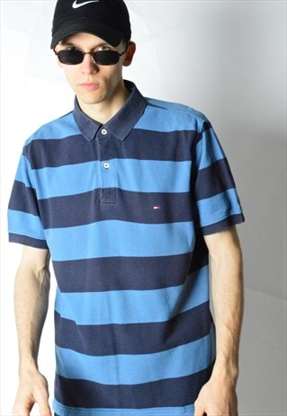 BLUE STRIPED TOMMY HILFIGER SHORT SLEEVE POLO SHIRT