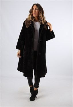 Faux Fur Coat Jacket Knee Length Vintage Long UK 16  (LHDH)