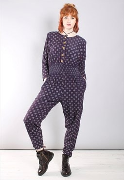 Vintage 80s Purple Spotty Pattern Batwing Button Jumpsuit