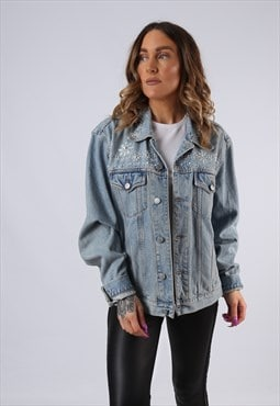 Vintage Denim Jacket Oversized Fitted UK 14 Large Blue (JM3E