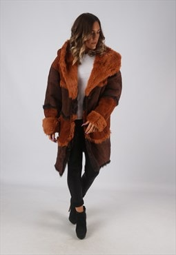 Sheepskin Suede Hooded Shearling Coat Mid Long UK 14 (KDK)