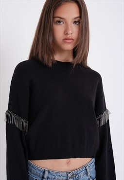 Cropped jumper - black