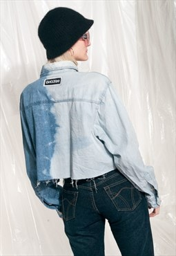 Vintage denim shirt 90s reworked cropped asymmetric jacket