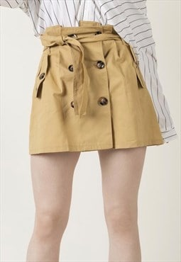 Eva - double button waist belt beige women new mini skirt