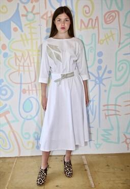 Dress, white, vintage 80s, knee length, belted, 50's shape