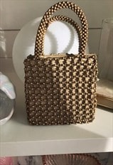 Super Cute Vintage Gold/Brass Beaded Top Handle Handbag