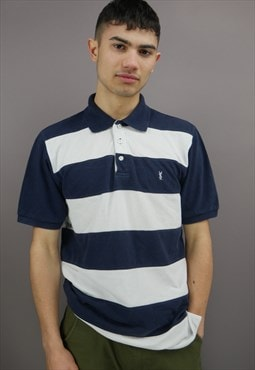 Vintage Striped Yves Saint Laurent Polo Shirt in Navy Blue