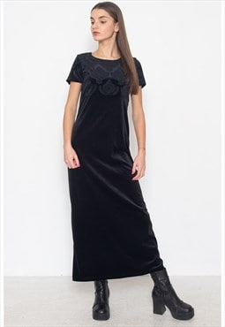 Vintage Black VERO MODA Velvet Short Sleeve Maxi Dress