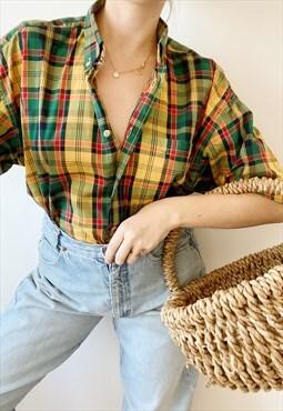 Vintage 90s Tartan check oversize workwear unisex blouse top