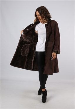 Sheepskin Suede Leather Shearling Coat UK 12 - 14 (B92J)