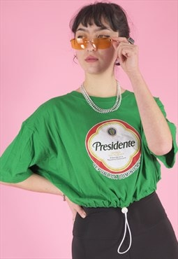 Vintage Reworked Cropped T-Shirt in Green with Graphic Print