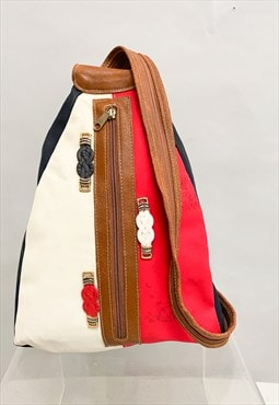 Vintage rucksack nautical colours  with zip leather strap