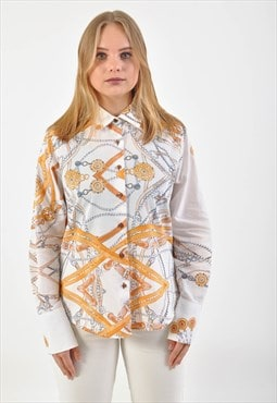 Vintage long sleeve shirt in abstract print