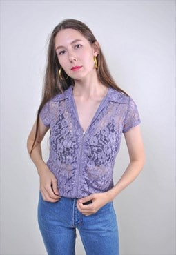 90s purple lace zipped up blouse