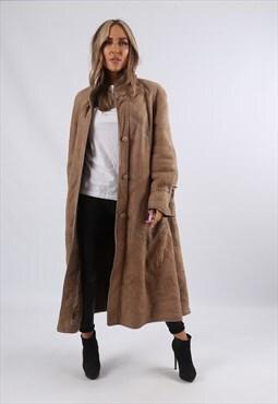 Vintage Sheepskin Suede Shearling Coat Long UK 12 M (UAW)