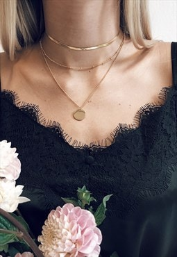 Layering Set: Herringbone Choker and Layered Circle Necklace