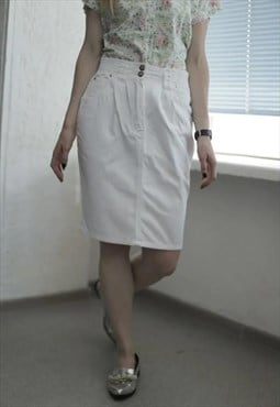 Vintage 90's Midi White Denim Skirt