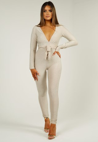 GLITTER LONG SLEEVE JUMPSUIT - GOLD SHIMMER