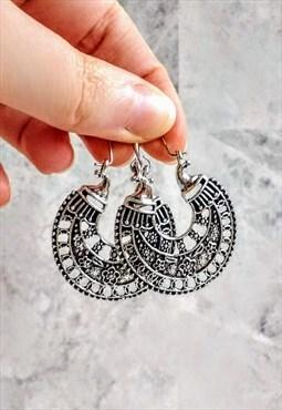 Mini Boho Mandala Hoop Earrings